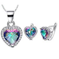 Layla Jewelry 18k White Gold Plated Alloy Swarovski Elements Crystal Jewelry Set include Pendant Necklace and Stud Earrings for Ladies Colorful(Heart inside)