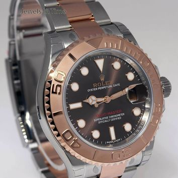 NEW Rolex Yacht-Master 18k Rose Gold & Steel Watch Chocolate Box/Papers 116621