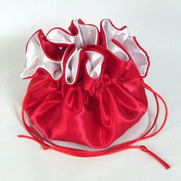 Dollar Dance Bag Wedding Pouch No Pockets  Red with White Lining