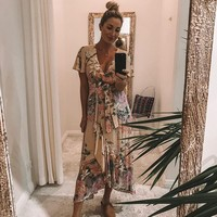 Ethereal Lily Maxi Dress V-Neck Wrap Dresses Boho Chic Flounce Hem Short Sleeve Dress Casual Beach Women Dresses