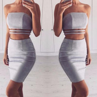 Gray Suede Lucilled Lined Two-Piece Dress