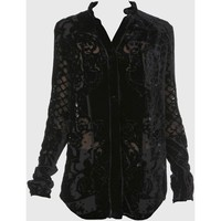 Balmain Black Embossed Velvet Shirt