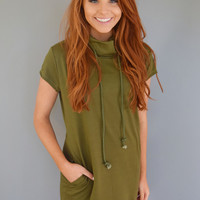 Colorado Cool Drawstring Dress Olive