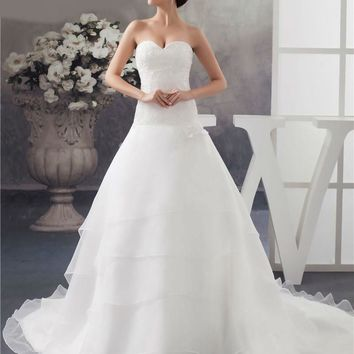 New Design Wedding Dresses Long Train Organza Bridal Gowns A Line