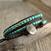 Turquoise beaded boho bracelet. Leather wrap bracelet
