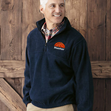 Personalized BASKETBALL DAD MOM player Embroidered Monogram Quarter-Zip Fleece Pullover Jacket Custom Name Initials or Player Number