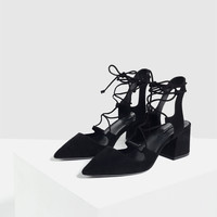 LACE - UP POINTED HIGH HEEL SHOES-View all-SHOES-WOMAN | ZARA United Kingdom