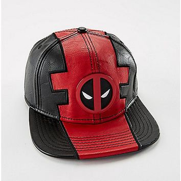 Faux Leather Deadpool Snapback Hat - Spencer's