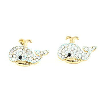 Blue Whale Stud Earrings Vintage Crystal Gold Tone Posts EG61 Fashion Jewelry
