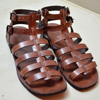 Leather Gladiator Sandals  BROWN  Handmade by IncredibleIndia