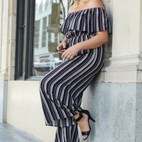 Cara Striped Off the Shoulder Jumpsuit Plus Size