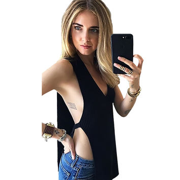 Sexy Side Split Black Women Tank Top Loose Deep V Neck Sleeveless Front Short Back Long Crop Top Christmas Party Feminino Tops