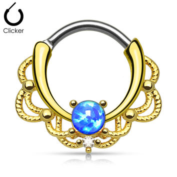 Lacey Blue Fire Opal Gold Round Septum Clicker