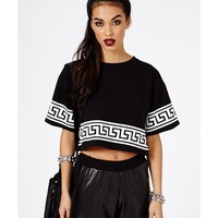 Missguided - Dulce Greek Key Print Oversized Crop Top