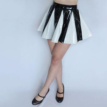 Black White PVC Vinyl Skater Mini Skirt - Gothic Punk Skirt - Fetish Clothing - Sexy Wet Look - PVC Skirt - Panel Skirt