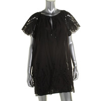 MICHAEL Michael Kors Womens Sheer Eyelet Casual Dress
