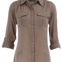 Khaki utility shirt - Shirts - Fashion Tops - Clothing - Dorothy Perkins