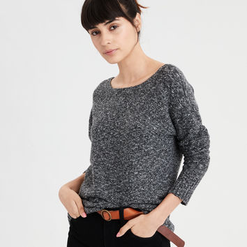 AE Back Lace-Up Sweater, Charcoal