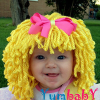Baby Hat- Ready to Ship- Baby Girl Wig- Baby Doll Hat- Raggedy Ann- Blonde Hair Wig- Baby Costume- Dolly Hair- Baby Girl Photo Prop