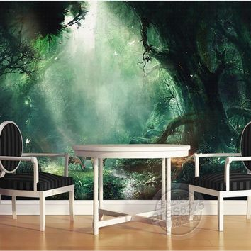 customize 3d mural wallpaper Painting fairy tale forest deer mural painting 3d photo wallpapers papel de parede adesivo