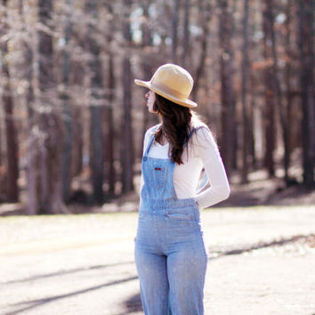 Small LandLubber Overalls . 1960's Denim Jean . 100% Cotton . Hippie Folk . Light-Wash Bell-Bottoms . Women Teen . Valentines Day Sale