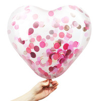 "Heart Confetti Balloon - Gemstone - 15 inch - Rose Gold, Coral, Pink, Burgundy - 1"" Circle Filled - Tissue Paper Decor"