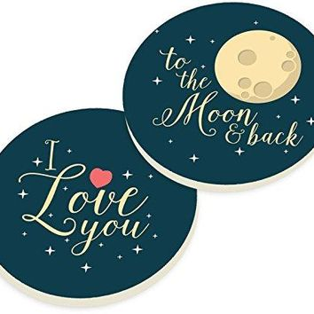 I Love You To The Moon And Back Stars Black Ceramic Car Coaster Pack Set of 2