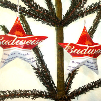 Recycled Budweiser Beer Can Aluminum Stars - Set of 2 Christmas Ornaments Or Father's Day Gift