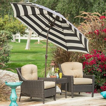 Stylish 9-Ft Market Patio Umbrella with Crank and Tilt in Dark Navy and White Stripe