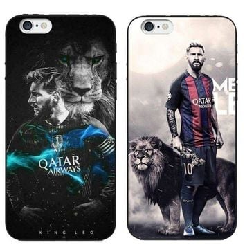 VOND4H New Messi Football Case Barcelona Soccer Soft Cover iPhone 5S 6 6S Plus 7 8 X