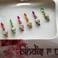 Forehead Bindis Jewels with Swirl design gold bead crystal.