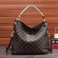 LV Louis Vuitton Fashion Women Logo Print Leather Satchel Shoulder Bag Handbag Crossbody I