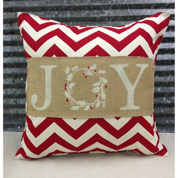 Decorative Pillow with JOY & Chevron print - COMPLETE pillow