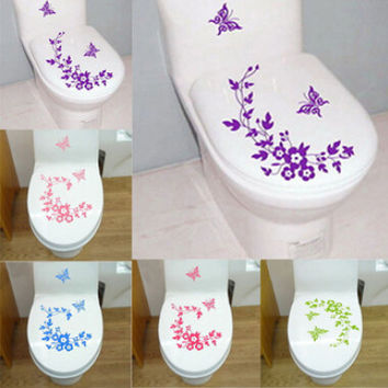 Butterfly Flower vine bathroom wall stickers home decoration wall decals for toilet decorative sticker