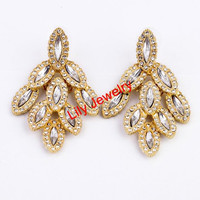 Luxury Crystal Earrings Jewelry Bling Earring Jewelry Stud Earrings Jewelry Leaf Earrings Women Prom Earrings Jewelry Gift