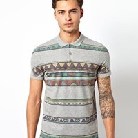 ASOS Polo With Aztec Stripe at asos.com
