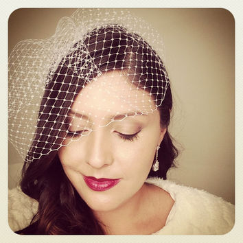 "Bridal Birdcage Veil w/ Silver Comb, Blusher Veil, Russian Tulle, French Net Lace, 9"" (or)  12"""