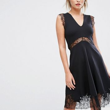 French Connection Lace And Jersey Trim Dress at asos.com