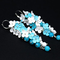 Floral Earrings with White Blue Flowers Feminine Jewelry Floral Jewelry One of a Kind Gift for Bride Wedding Earrings Romantic Gift