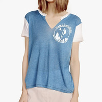 Blue Camp Wildfox V-neck Shirt