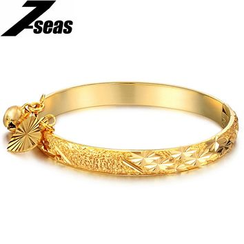 7SEAS Lucky Cuff Bead Open Bangle For Women Luxury Gold Color Charm Bracelet Women Jewelry Accessories pulseiras mulheres,JM314