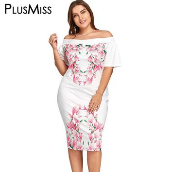 PlusMiss Plus Size 5XL Off The Shoulder Tulip Print Dress Women White Sexy Elegant Evening Party Bodycon Dress Big Size 2017