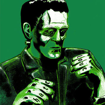 Frankenstein's Monster Love/Hate Poster by Mustachefish on Etsy