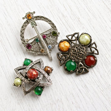 Vintage Celtic Pin Lot - 3 Silver Tone Glass Cabochon & Rhinestone Costume Jewelry Scottish Irish Brooches / Colorful Stones
