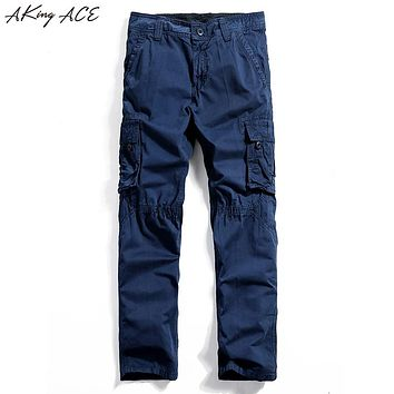 New 2017 Free shipping Men's blue cargo pants with mutil pockets casual pants for men vintage zipper pantalon cargo homme, ZA217