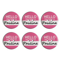 Paulina Hello My Name Is Plastic Resin Button Set of 6