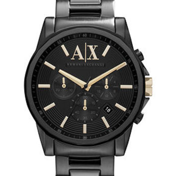 A|X Armani Exchange Watch, Men's Black Ion Plated Stainless Steel Bracelet 45mm AX2094