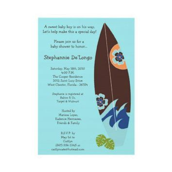5x7 Surfer Baby Surf Boards Baby Shower Invitation from Zazzle.com