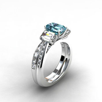 Engagement Ring Set, Aquamarine Engagement Ring, Emerald Cut, Diamond Ring,  Wedding Band