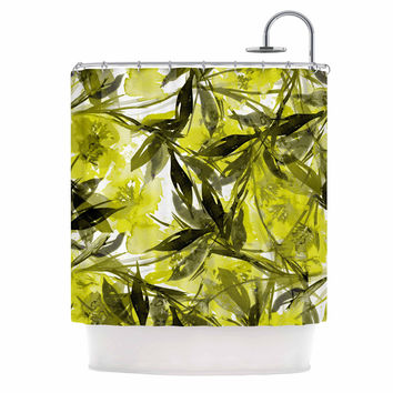 "Ebi Emporium ""Floral Fiesta - Yellow Gray"" Floral Painting Shower Curtain"
